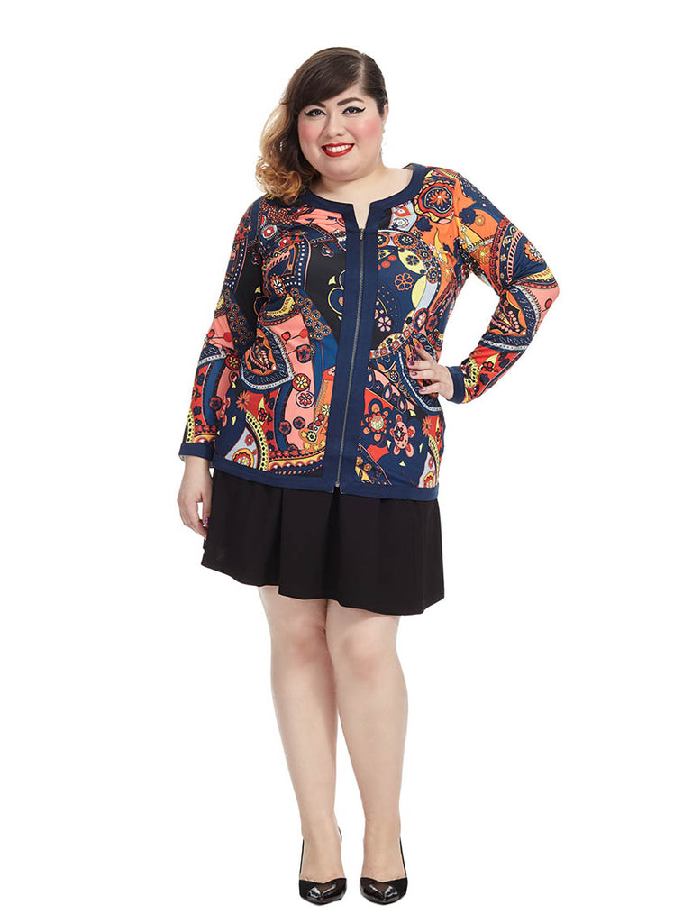 Paisley Printed Zip Front Top