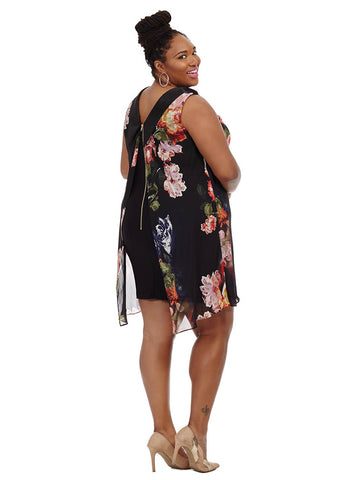 Collared Back Zip Dress In Floral