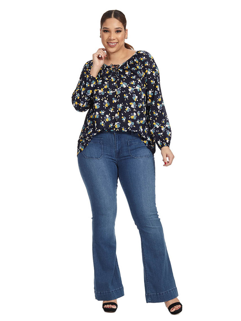 Indigo Petals Lace Up Top