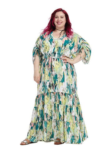 Tiered Peasant Dress In Abstract Print