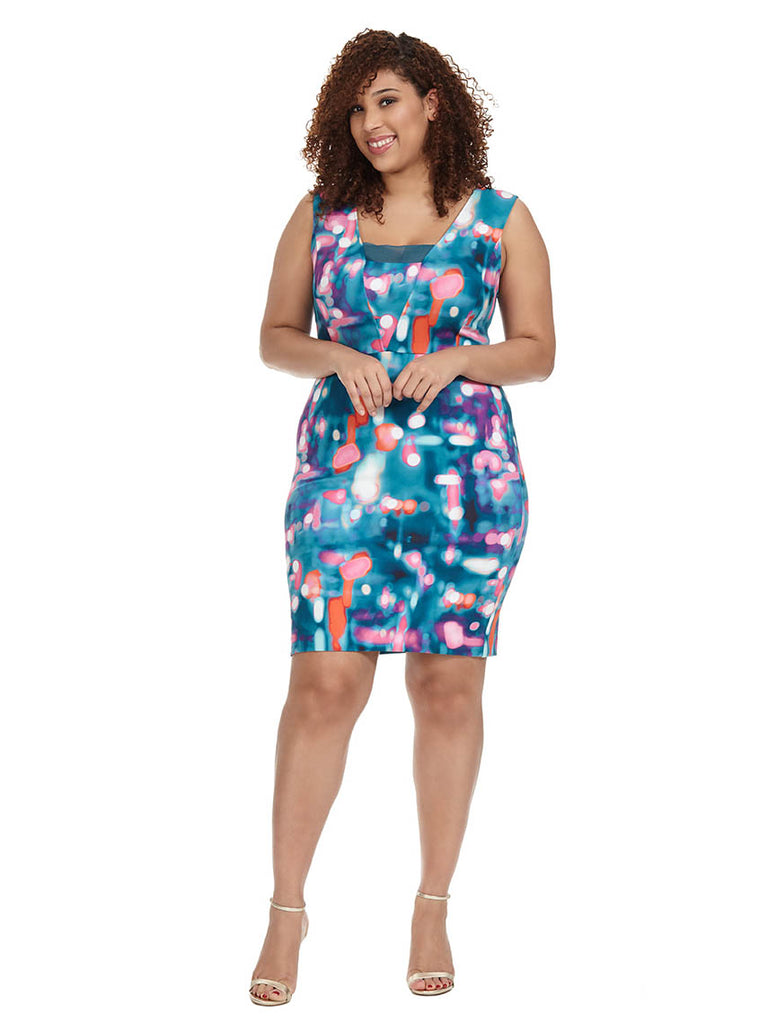 Printed Deep V-Neck Scuba Dress