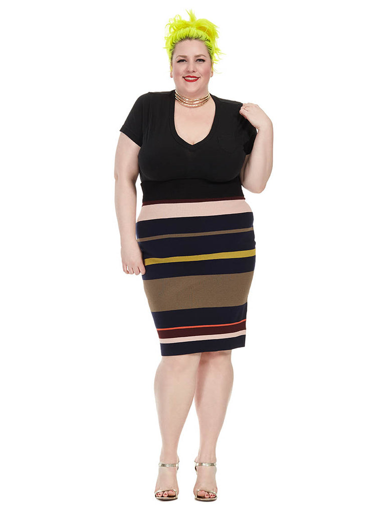 Variegated Stripe Midi Skirt