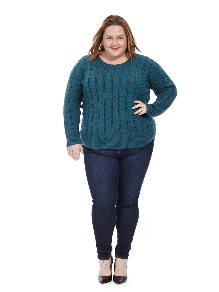 Cable-knit Sweater in Turquoise