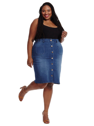 Button Front Skirt In Apollo Wash