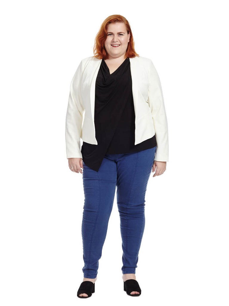 Cropped Blazer In Ivory