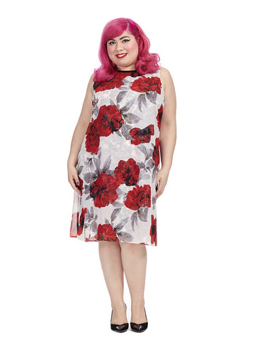 Swing Dress In Rose Print