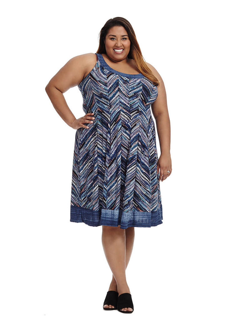 Multi Chevron Print Dress In Blue