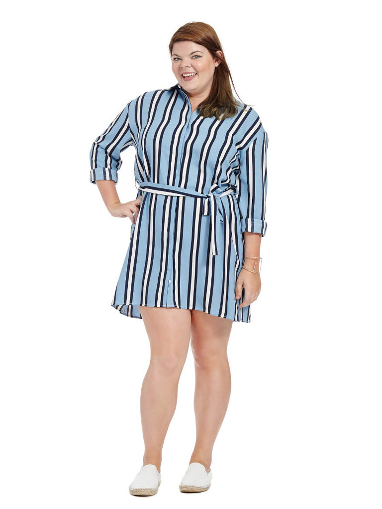 Shirt Dress In Blue & Black Stripe