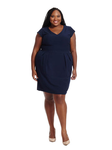 Tailored Dress in Navy