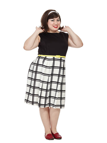 Checkered Print Dress With Yellow Belt