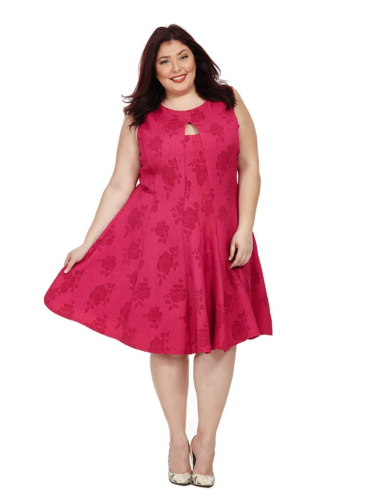 Fuchsia Fit & Flare Dress With Keyhole