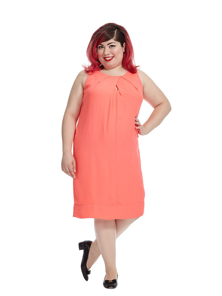 Front Pleat Dress in Coral