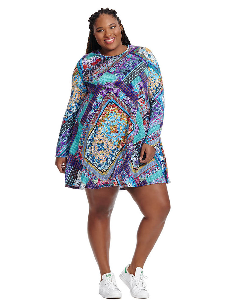 Swing Dress In Patchwork Paisley Print