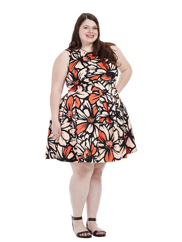 Scuba Dress in Apricot Floral