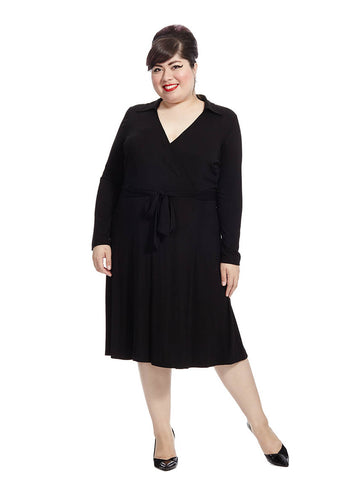 Faux Wrap Dress In Black