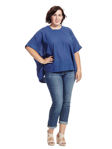 Blue Depths Button Back Boxy Tee