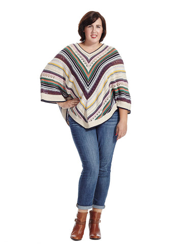 Crochet Sweater Poncho In Multi