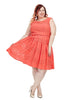 Coral Dress In Mesh Chevron