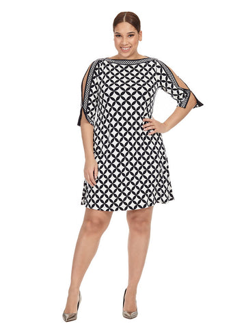 Cold Shoulder Dress In Geo Print
