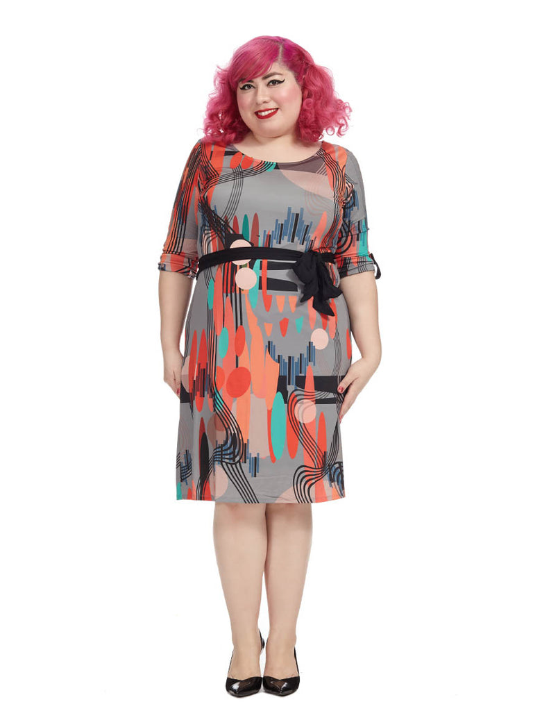Mod Printed Belted Shift Dress