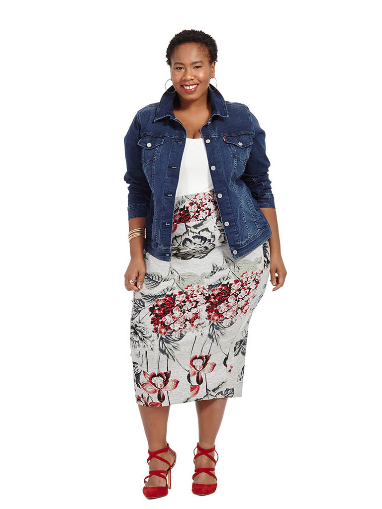Ponte Midi Pencil Skirt In Floral Print