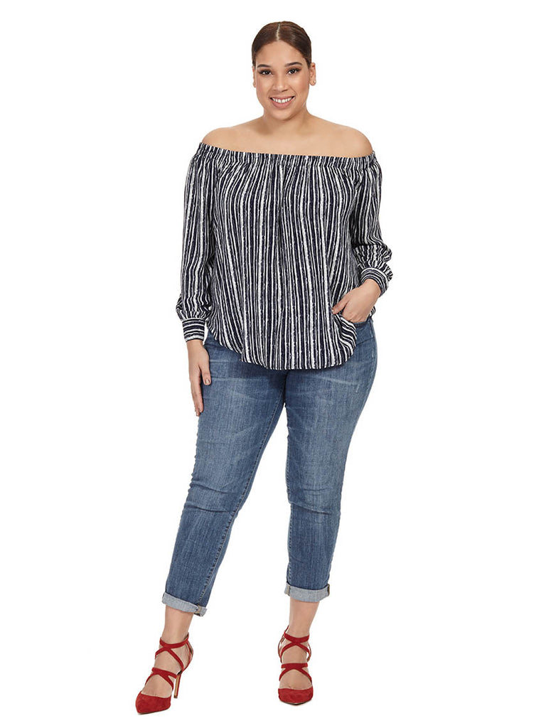 Off The Shoulder Striped Tunic
