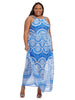 Halter Maxi Dress In Medallion Print