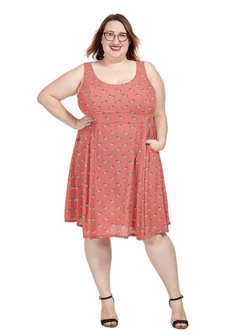 Brigitte Dress in Coral Zebra