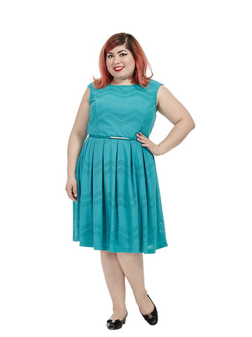 Aqua Dress In Mesh Chevron