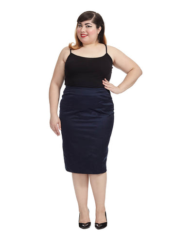 Midnight Blue Satin Pencil Skirt