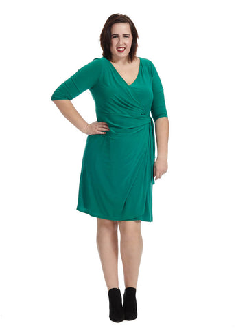 Fiona Wrap Dress in Emerald