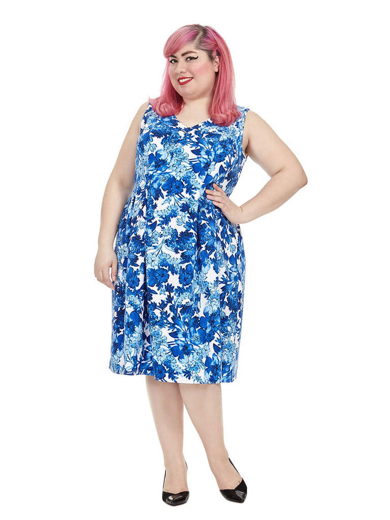 Forest Floral Fit & Flare Dress In Blue