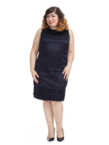 Midnight Blue Stretch Satin Shift Dress