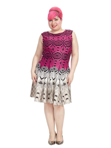 Two-Tone Geometric Print Dress In Pink