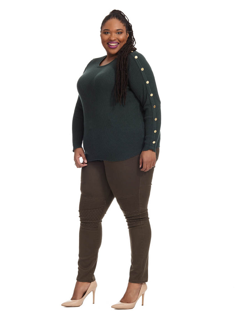 Button Sleeve Ribbed Sweater In Forest Green