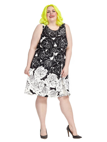 Fit & Flare Dress In White & Black Rose Print