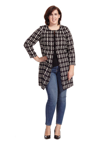 Plaid Open Front Jacket