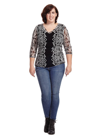 Lace Scroll Mesh Top