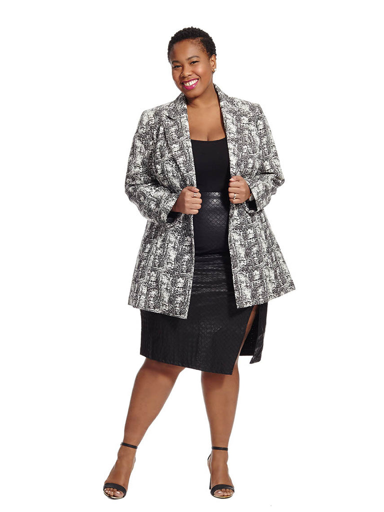 Ivory & Black One Button Jacquard Jacket