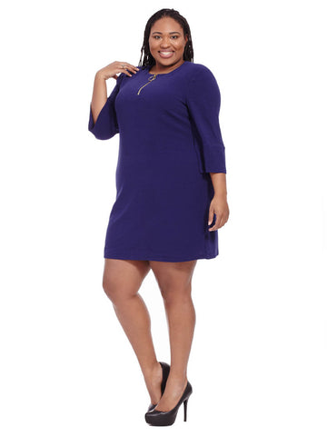 Front Zip Dress In Midnight Navy
