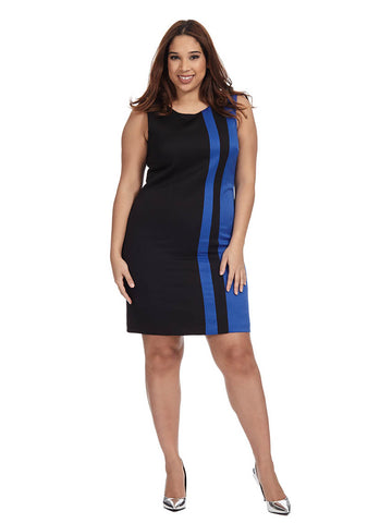 Vertical Stripe Shift Dress In Black