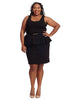 Scoop Neck Ponte Peplum Dress In Black