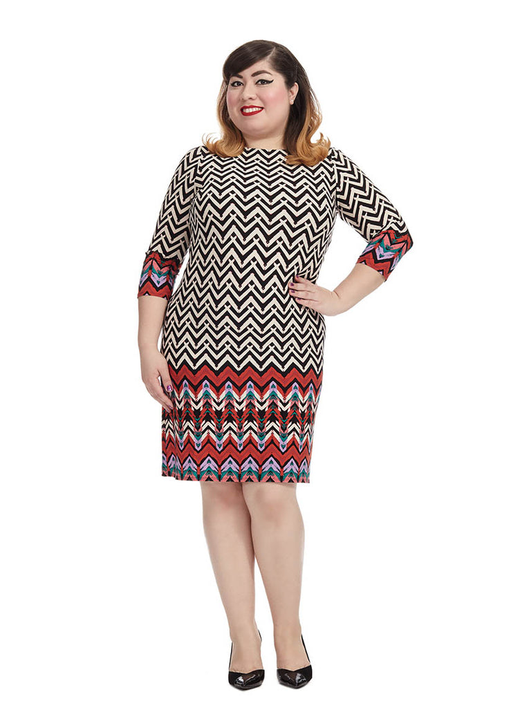 Shift Dress In Red Chevron