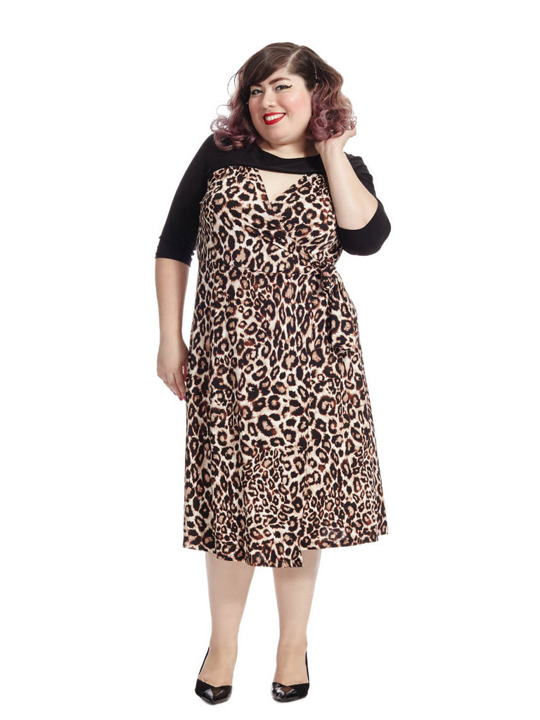 Wishful Wrap Dress in Leopard Print
