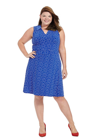 Riley Dress In Cobalt Confetti Dot