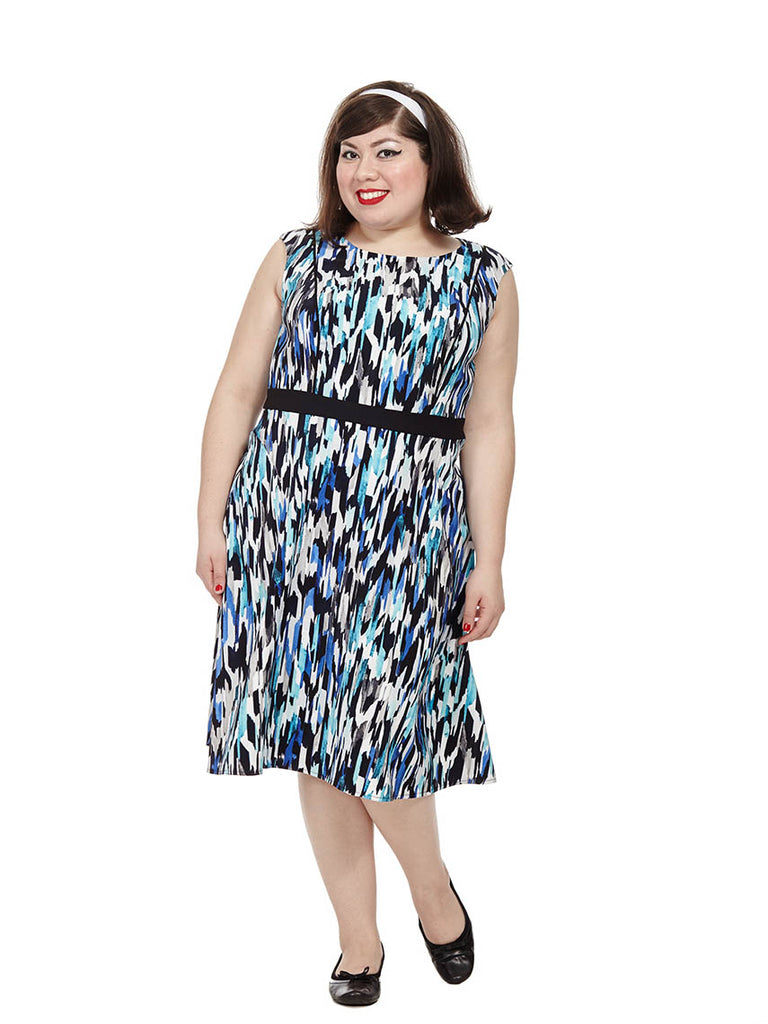 Fit & Flare Dress In Abstract Ikat