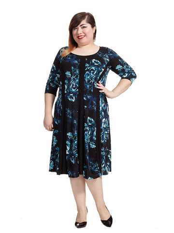 Madelyn Dress In Blue Roses