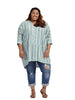 Dolman Pullover In Jade Vertical Dots