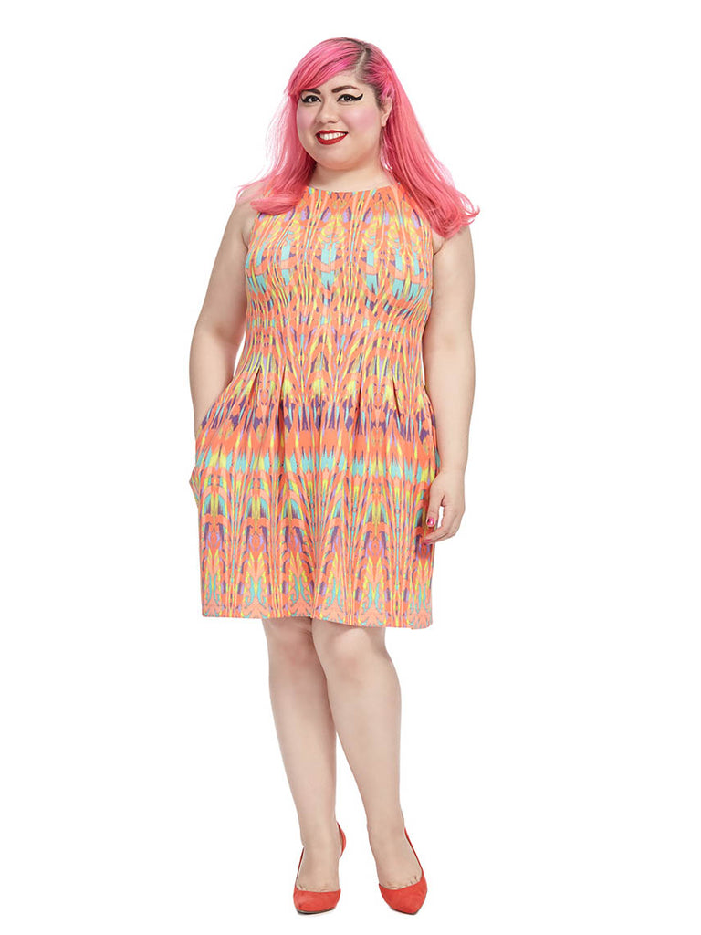 Coral Dress In Psychedelic Print