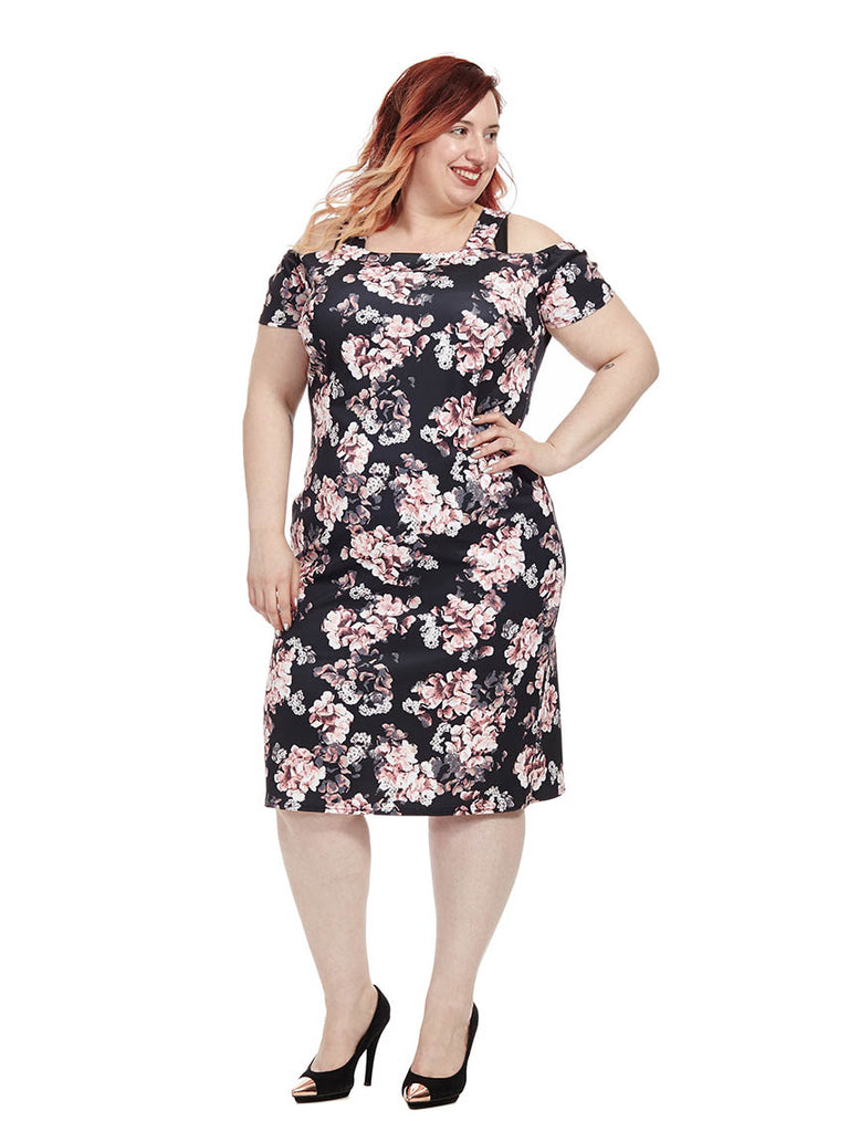 Floral Cold Shoulder Bodycon Dress